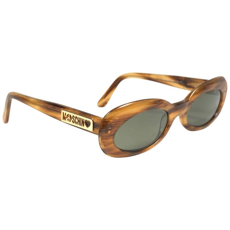 ed61a813b6 Mint Vintage Moschino Small Medium Tortoise 1990 Sunglasses For Sale ...
