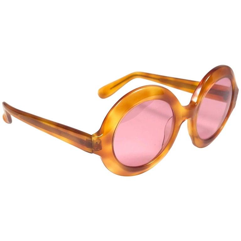 New Vintage Pierre Cardin Round Honey Tortoise Rose Lenses C17 1960's Sunglasses