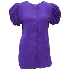 C.1980 Italian Purple Silk Blouse With Unique Ruched Sleeves
