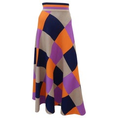 Fab 1970's Italian Wool Knit Checkered Maxi Skirt