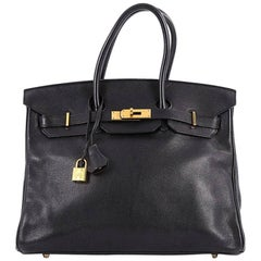 Hermes Black Swift with Gold Hardware 35 Birkin Handbag
