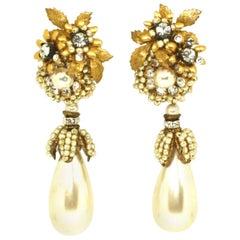 Drop Pearl Clip Earrings by Lawrence Vrba