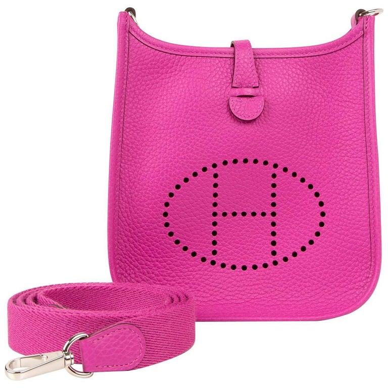 aa1cc88658 Hermes Evelyne III TPM Bag Magnolia Pink Crossbody Clemence Palladium For  Sale