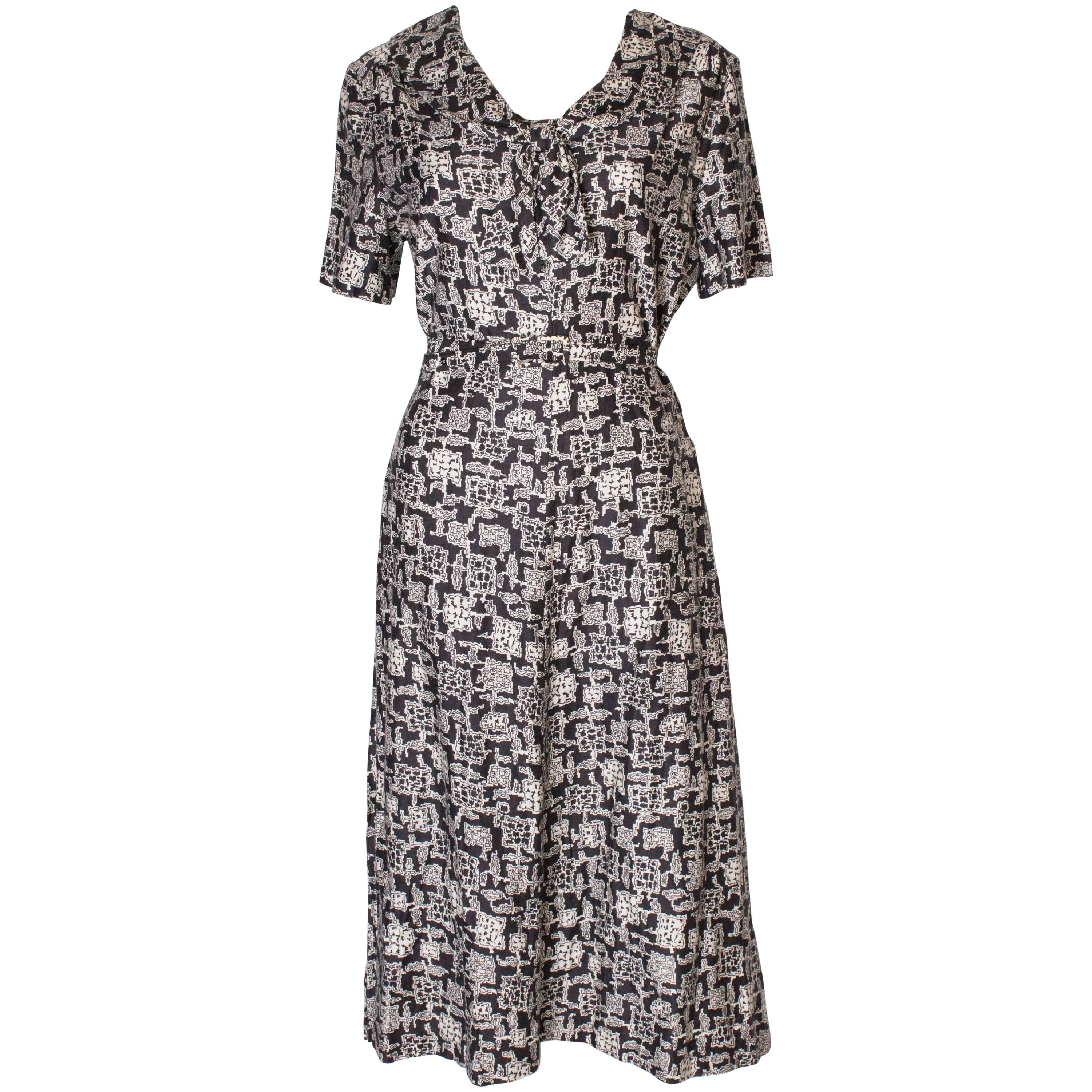 A Vintage 1970s cotton printed day Dress by Horrockses