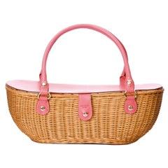 New Kate Spade Spring 2005 Large Pink Wicker Basket Bag
