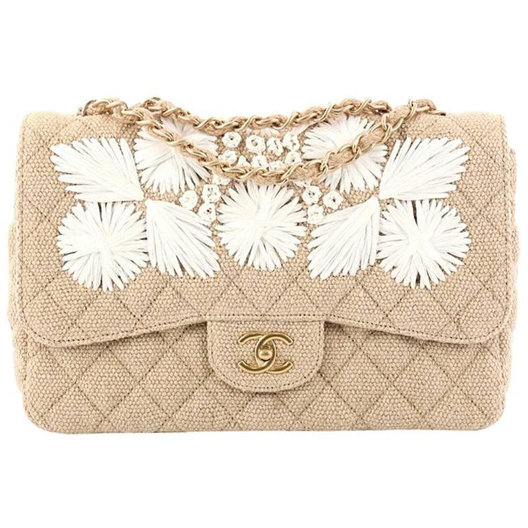 6493fe869801f4 Chanel Country Coco Flap Bag Floral Embroidered Quilted Raffia Jumbo For  Sale