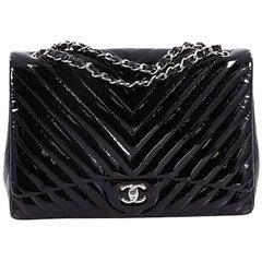 Chanel Classic Single Flap Bag Chevron Patent Maxi