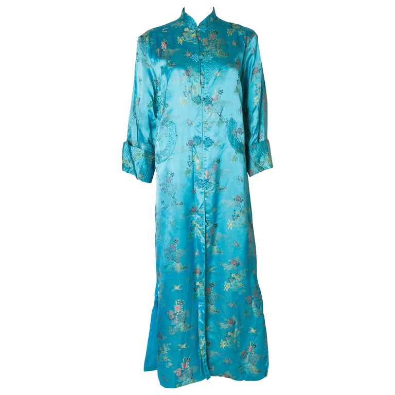 A 1960s Vintage Turquoise chinese satin embroidered evening Coat For Sale