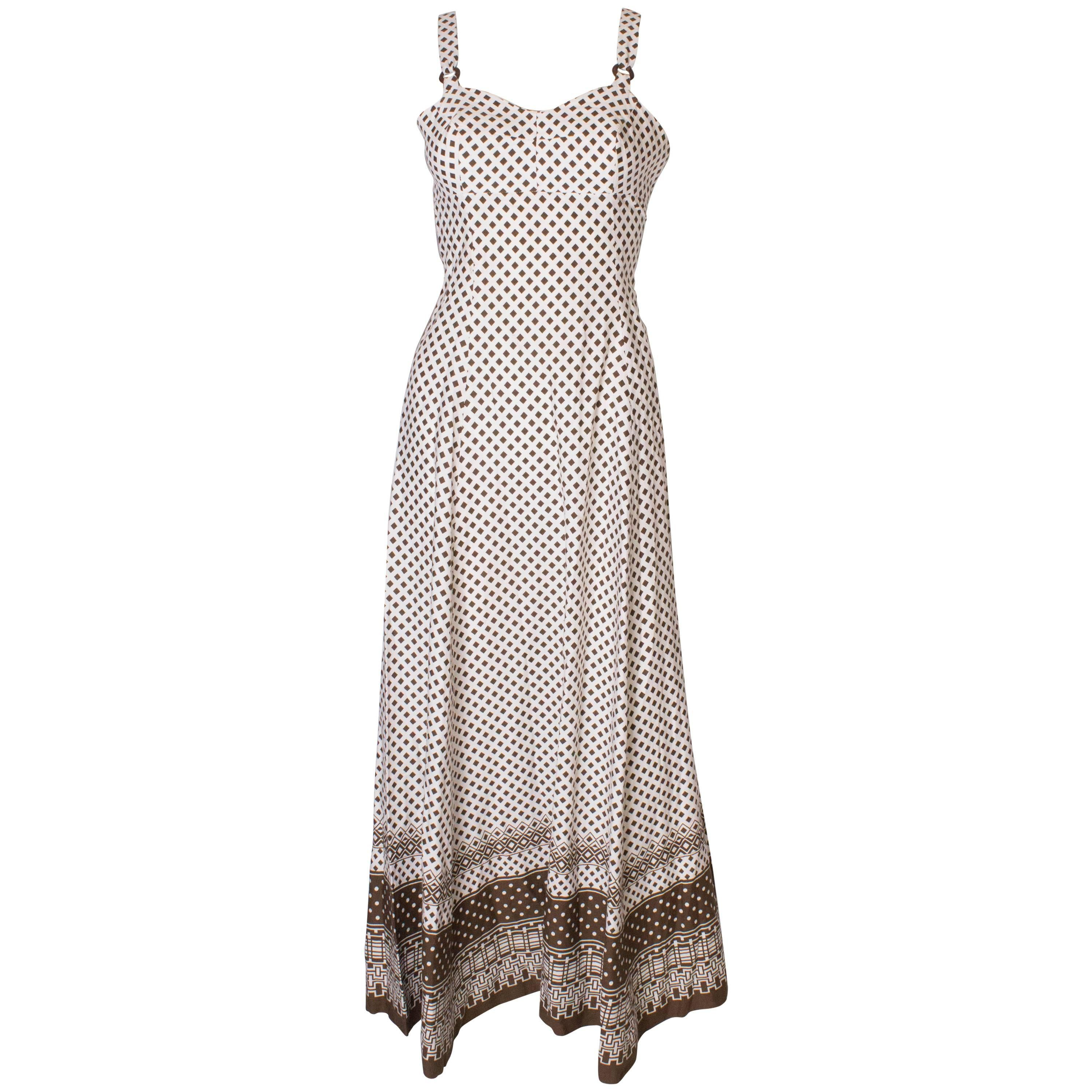 A Vintage 1970s printed long summer dress in Brown and White by Horrockses