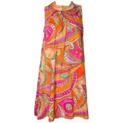 A vintage 1960s colourful abstract printed cotton smock dress