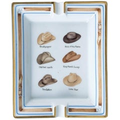 Hermes Printed Porcelain Cigar Ashtray Change Tray Cowboy Hat Rodeo Texas