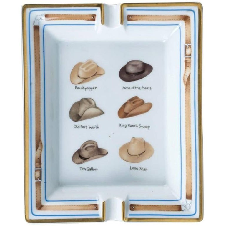 Hermes Printed Porcelain Cigar Ashtray Change Tray Cowboy Hat Rodeo Texas