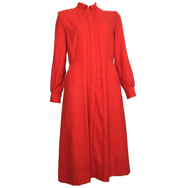 Courreges Red Wool Long Sleeve Dress with Pockets, 1980s  For Sale