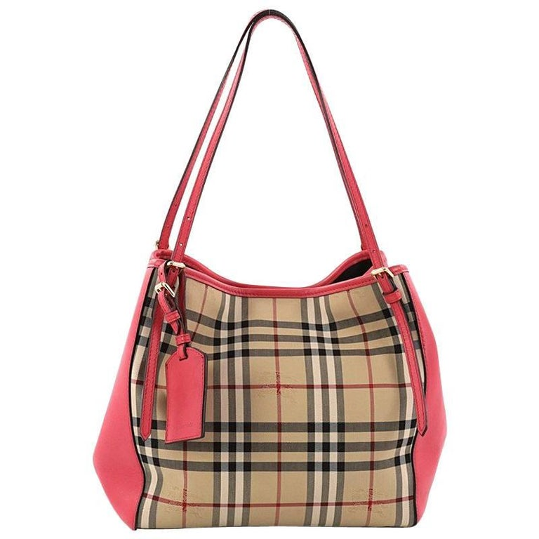 49dfaf018d9f Burberry Canterbury Tote Horseferry Check Canvas and Leather Small For Sale
