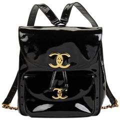 1995 Chanel Black Patent Leather Vintage Classic Timeless Backpack