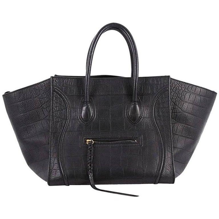 Celine Phantom Handbag Crocodile Embossed Leather Medium