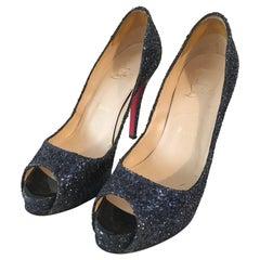 Louboutin Navy Glitter Peep Toe Platform High Heels Size 37. 1/2