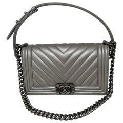 Chanel Silver Medium Plus Boy Bag