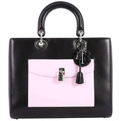 Christian Dior Lady Dior Front Pocket Handbag Leather Large