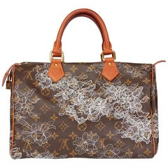 2007 Louis Vuitton Brown Coated Monogram Canvas Silver Dentelle Speedy 30