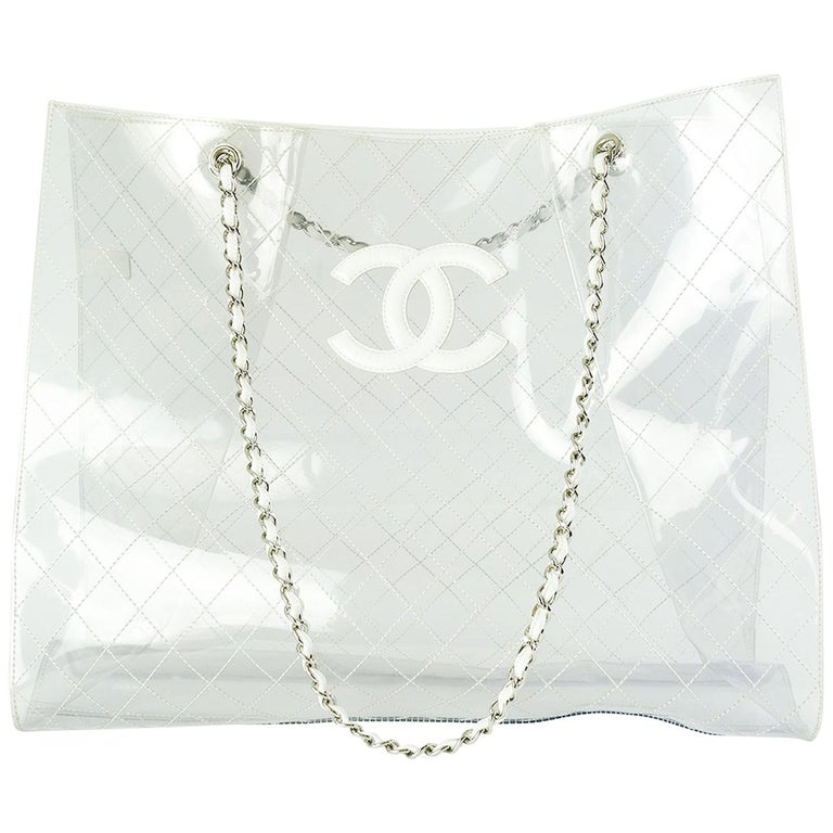 Chanel Transparent and Lambskin White Naked XXXL Extra Large Clear Tote For Sale