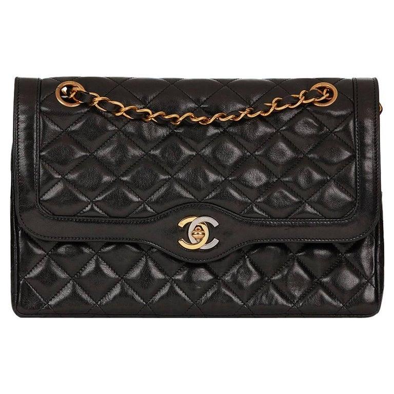 b90efa64c7c9 1995 Chanel Black Quilted Lambskin Vintage Medium Paris Limited Double Flap  Bag For Sale