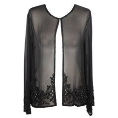 Valentino Black Pure Silk Chiffon Evening Jacket with Beadwork