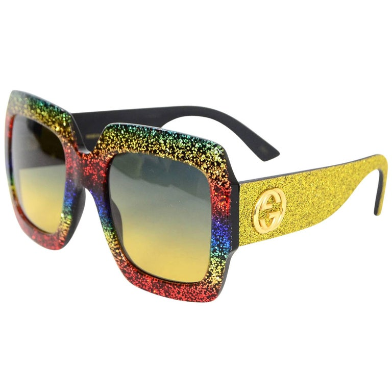 dc7bbcbe43cfc Gucci  18 Rainbow Glitter Square Frame Sunglasses with Case For Sale ...