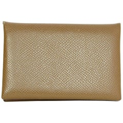 Hermes Taupe Epsom Leather Calfskin Calvi Card Holder