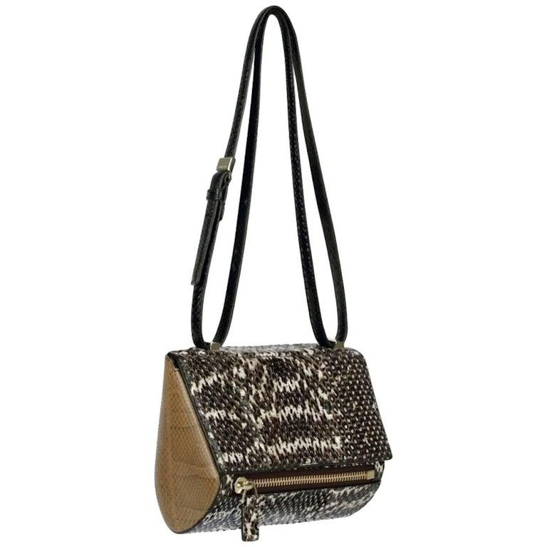 Givenchy Pandora Snakeskin Box Crossbody Carryall Flap Shoulder Bag For Sale 9e72bd98ea274