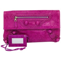 Balenciaga Magenta Leather Large Envelope Evening Flap Clutch Bag