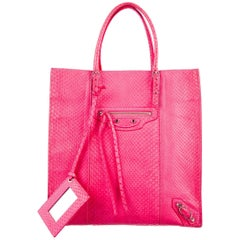 Balenciaga Electric Pink Snakeskin Carryall Travel Top Handle Tote Bag