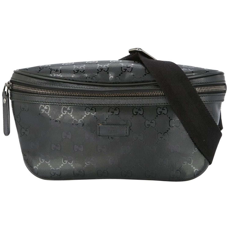 011260ef3a9 Gucci Black Leather GG Logo Men's / Women's Fanny Pack Waist Bag
