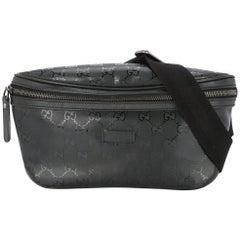 Gucci Black Leather GG Logo Men's / Women's Fanny Pack Waist Bag