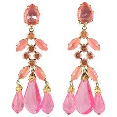 Schreiner Large Pink Statement Chandelier Earrings 1960s