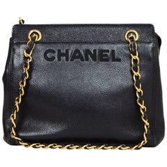 Chanel Vintage Black Caviar Leather CHANEL Logo Tote Bag