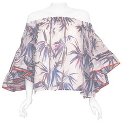 Emilio Pucci Off Shoulder Blue, Pink & White Bamboo Print Flared Sleeves Top