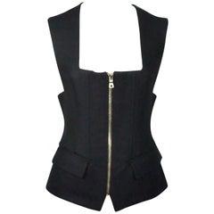 Balmain Black Sleeveless Silk Blended Vest Top - 40