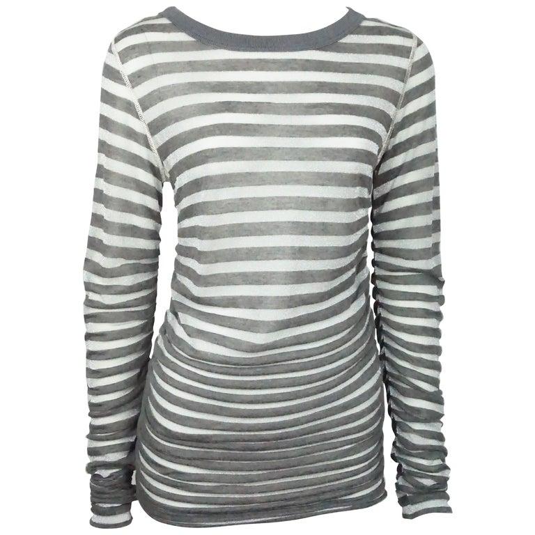 Dolce & Gabbana Charcoal and Silver Striped Long Sleeve Top
