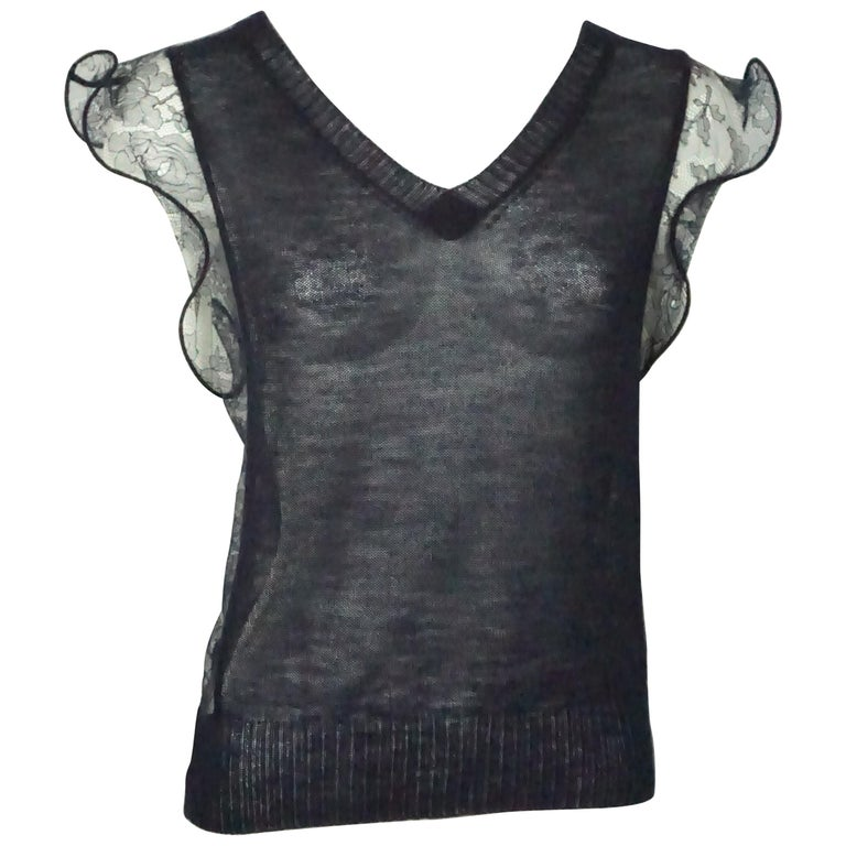 Nina Ricci Navy Cashmere and Lace Top - Medium  For Sale