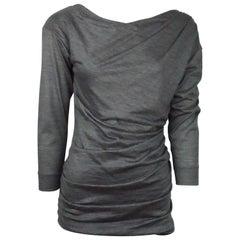 Louis Vuitton Charcoal Wool Blend Long Sleeve Top - Medium