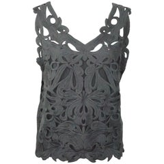 Les Copains Grey Wool Lace Sleeveless Top - 46 - NWT