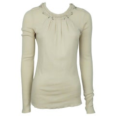 Burberry Nude Cotton Sweater w/ Rope Detail - Medium