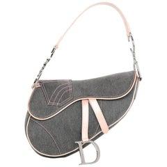 Christian Dior Pink & Grey Denim D Saddle Bag with DB
