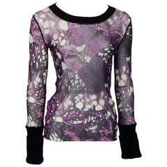 Jean Paul Gaultier Purple Print Mesh Top w/ Velvet - Large