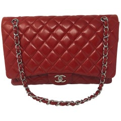 Red Chanel Maxi Lambskin Bag