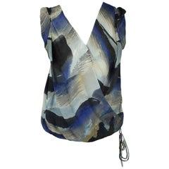 Robert Rodriguez Blue Printed Silk Chiffon Sleeveless Top - 4