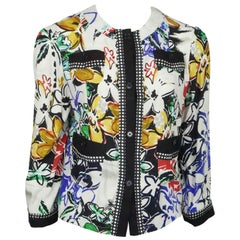 Etro White and Multi Floral Silk Print Top