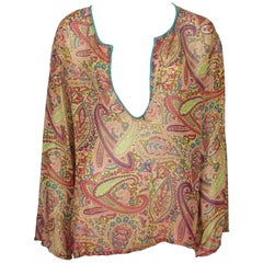 Etro Orange and Multi Color Silk Paisley Print Long Sleeve Blouse - Medium