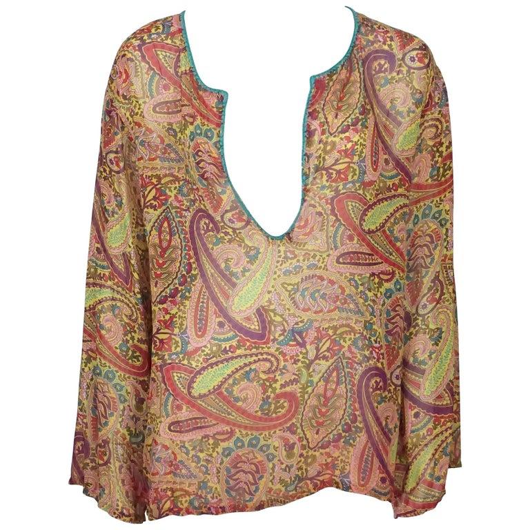 515b4189d06adc Etro Orange and Multi Color Silk Paisley Print Long Sleeve Blouse - Medium  For Sale